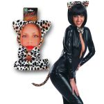 SET LEOPARDO LUSSO (CERCHIETTO, CODA,PAPILLON) SU CARTONCINO