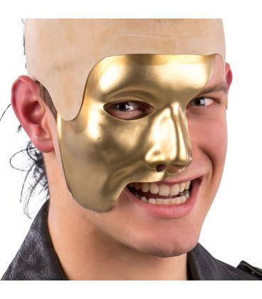 Maschera mezzo viso oro in plastica