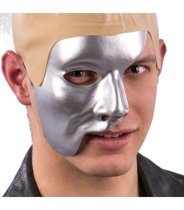 Maschera mezzo viso argento in plastica