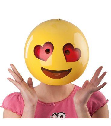 Maschera emoticon cuori in plastica