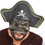 Maschera mezzo viso teschio pirata cappello in eva