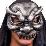 Maschera diavolo grigio mezzo viso in cartapesta