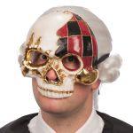 Maschera teschio mezzo viso in cartapesta