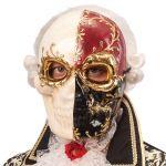 Maschera teschio decorazioni oro,rosse e nere in cartapesta