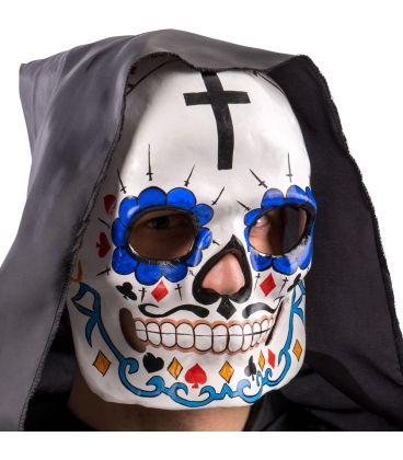 Maschera teschio messicano in cartapesta croce e baffetti
