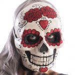 Maschera teschio messicano in cartapesta decorazioni glitter