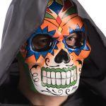 Maschera teschio messicano in cartapesta decorazioni arancioni e verdi