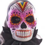 Maschera teschio messicano in cartapesta decorazioni rosa