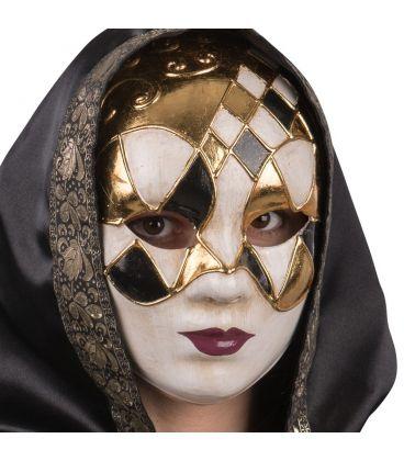 Maschera in cartapesta con rombi oro e neri