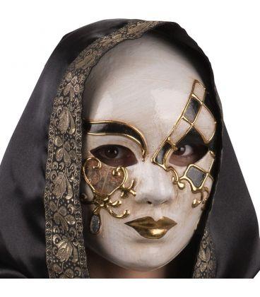 Maschera in cartapesta con lacrime glitter