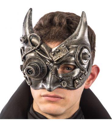 Maschera steampunk diavolo argento in plastica rigida
