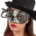 Maschera steampunk argento in plastica rigida