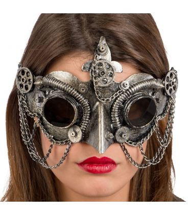 Maschera steampunk argento becco e catene in plastica rigida