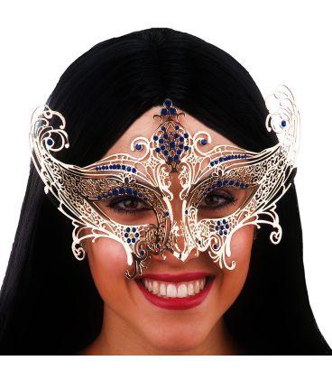 Maschera oro in metallo strass blu