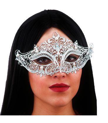 Maschera argento in metallo perle