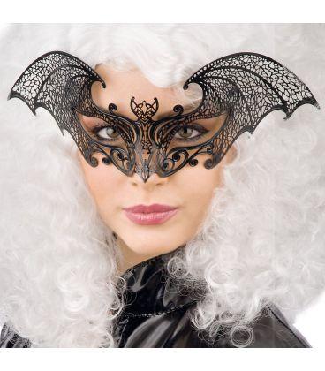 Maschera pipistrello nero in metallo