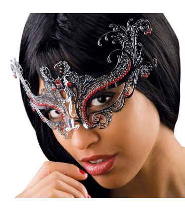 Maschera argento in metallo strass rossi