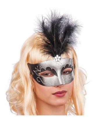 Maschera nera e argento in plastica piume nere