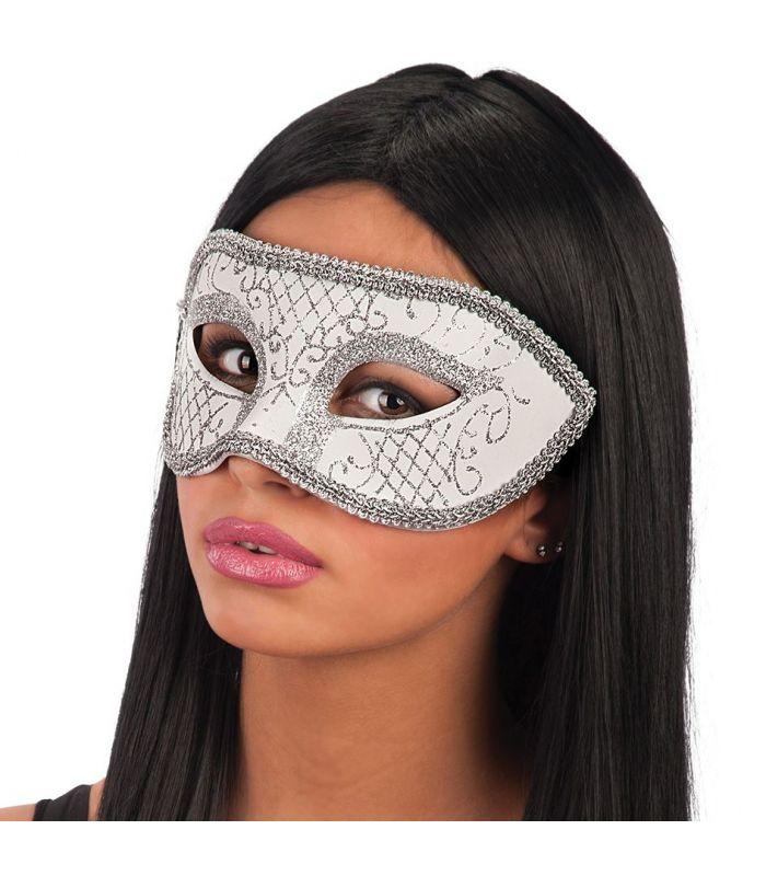 Maschera bianca in plastica dec glitter argento euro for Parete bianca con glitter argento