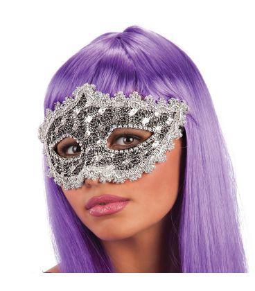 Maschera in plastica pizzo argento e strass