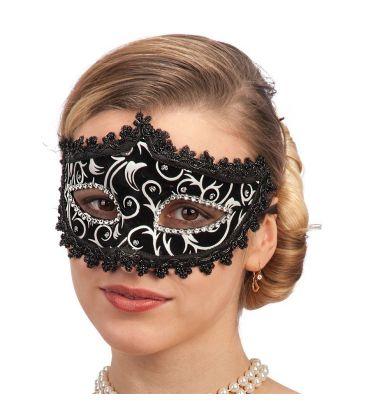 Maschera in plastica velluto nero, decorazioni e strass