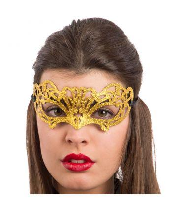 Maschera in plastica intagliata glitter oro