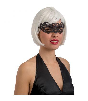 Maschera in plastica intagliata glitter neri