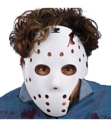 Maschera hockey bianca spezzata in plastica rigida