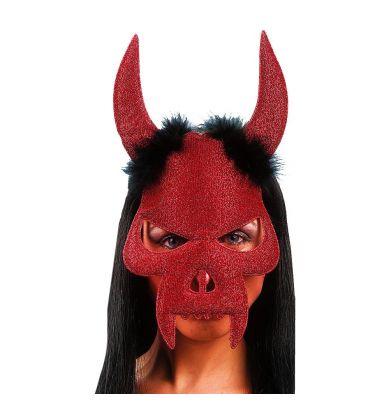 Maschera diavolo in tessuto glitterato e marabout