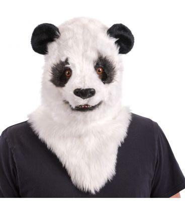 Maschera panda lusso in peluche mandibola mobile