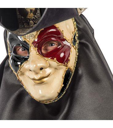Maschera veneziana in plastica dec.rosse e nere