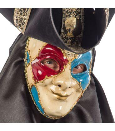 Maschera veneziana in plastica dec.rosse e azzurre
