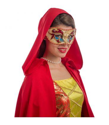 Maschera veneziana in plastica dec.rosse e azzurre passamaneria