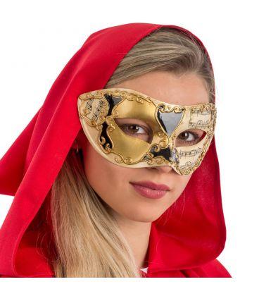 Maschera veneziana in plastica dec.oro e nere