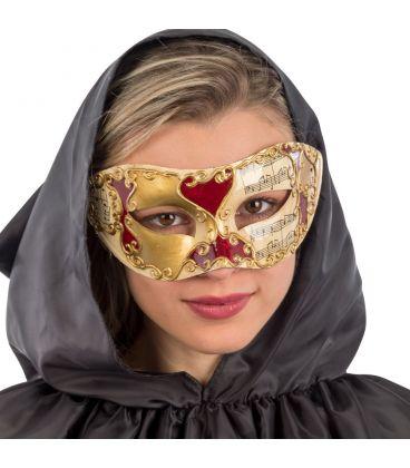 Maschera veneziana in plastica dec.oro e rosse