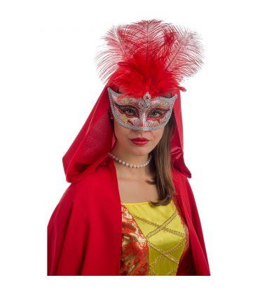 Maschera in plastica glitter rossi e argento, gemma e piume