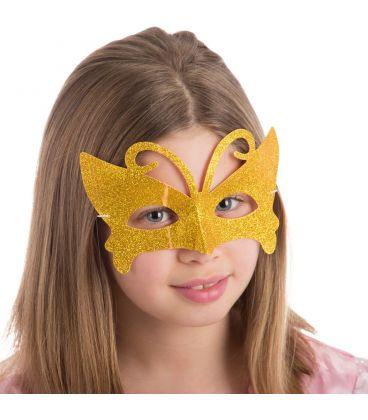 Maschera farfalla in plastica glitter oro