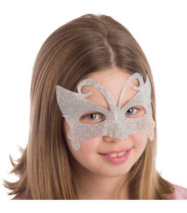 Maschera farfalla glitter argento