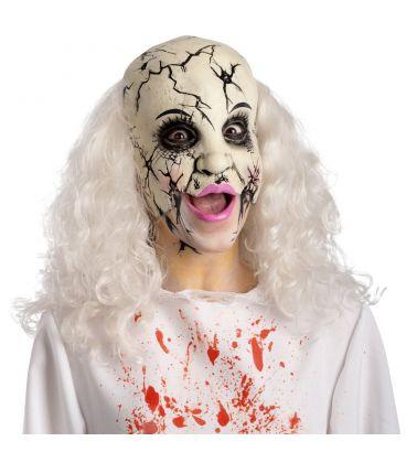 Maschera mezzo viso donna crepata in lattice