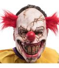Maschera clown horror crepato in lattice capelli