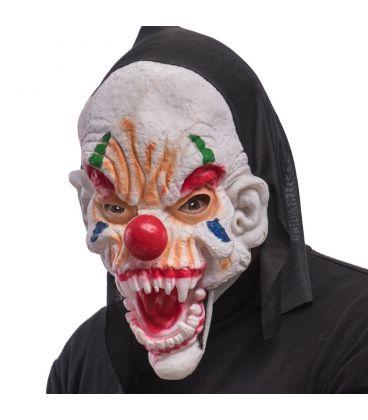 Maschera clown in fingomma cappuccio e cavallotto