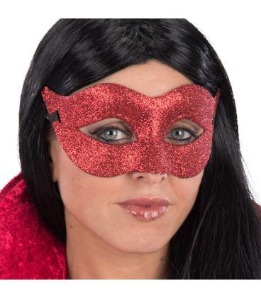 Maschera in plastica glitter rossi