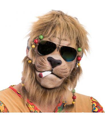 Maschera leone hippie in lattice criniera e occhiali