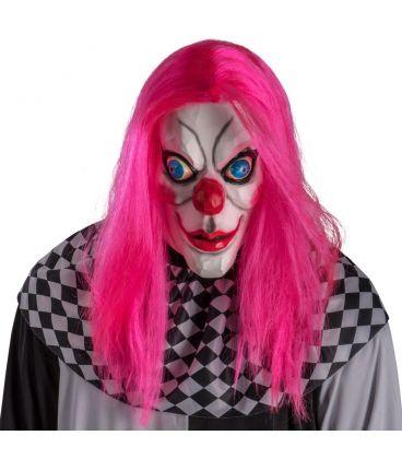 Maschera clown in lattice capelli fucsia