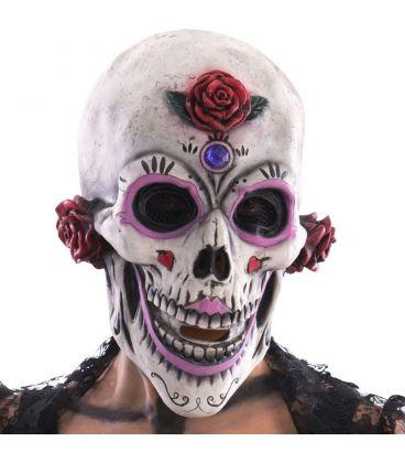 Maschera scheletro con rose in lattice