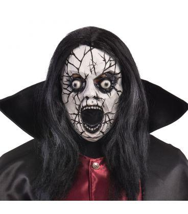 Maschera zombie crepato in lattice capelli