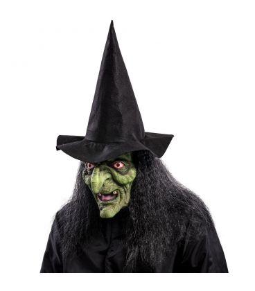 Maschera strega verde in lattice capelli e cappello