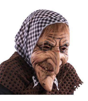 Maschera vecchietta in lattice fazzoletto e capelli