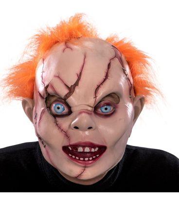 Maschera bambola horror in lattice capelli arancioni