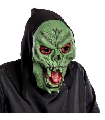 Maschera scheletro verde in fingomma cappuccio